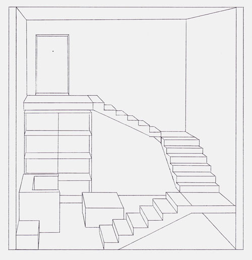 Perspective le carton dessin for Dessin chambre perspective