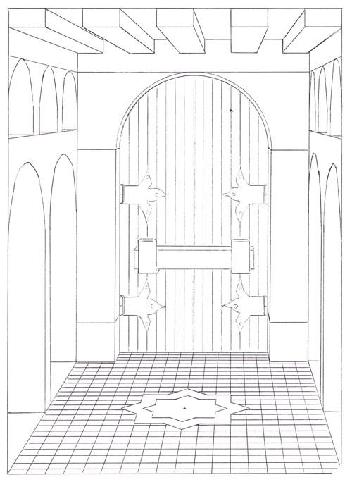 deuxime dessin toujours en perspective frontale il sagit de lintrieur dun temple au fond duquel se trouve une immense porte - Dessiner Une Piece En Perspective Frontale
